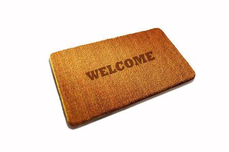 welcome door: Benvenuto stuoia di fibra naturale porta su sfondo bianco
