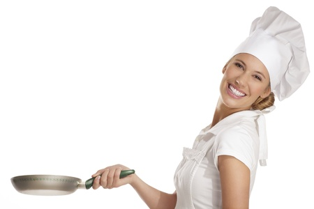 culinary chef: young woman chef with  different tools on white