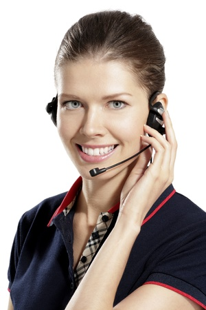 young  woman with headphones on white background Stock Photo