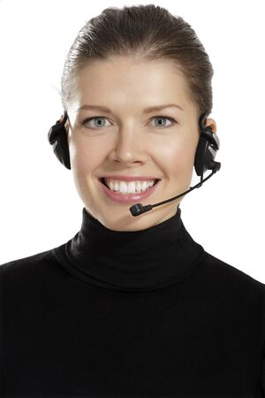 customer service phone: young  woman with headphones on white background Stock Photo