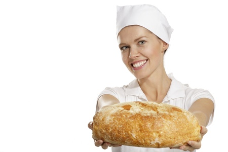 christmas baker's: young woman baker on white background
