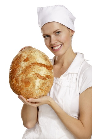 young woman baker on white background photo