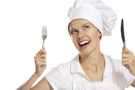young woman cook on white background photo
