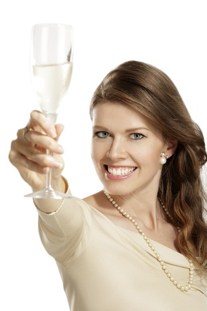 feminine hands: young woman with a flute of champagne on white