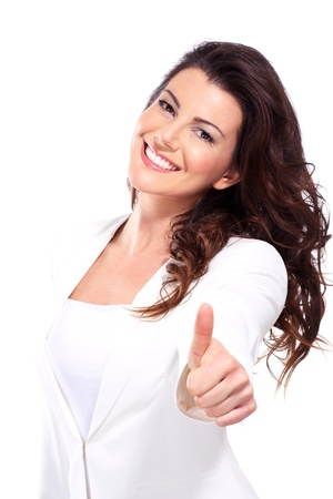 woman  with thumbs up on white Stock Photo