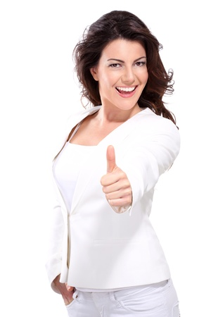 woman  with thumbs up on white Standard-Bild