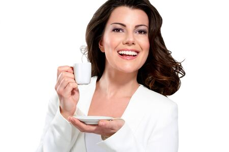people drinking coffee: Young beautiful woman drink coffee on white Stock Photo