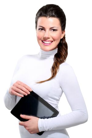 Young beautiful happy business woman with tablet on white photo