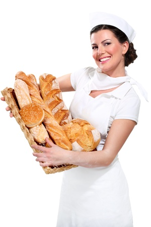 artisanale: jonge mooie vrouw bakker op wit Stockfoto