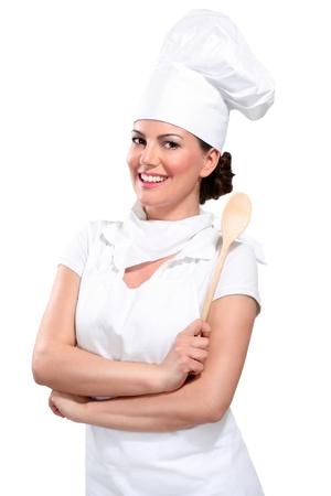 young woman chef on white Archivio Fotografico