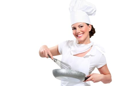 young woman chef on white photo