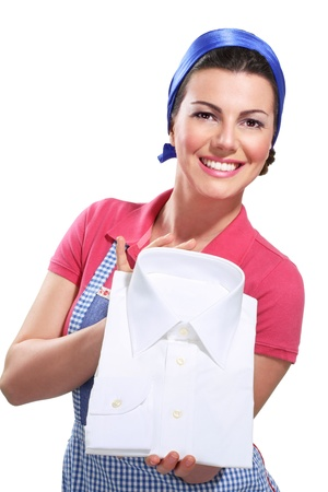 young housewife cleaning on white Standard-Bild