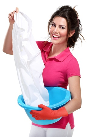 young housewife cleaning on white Stock Photo