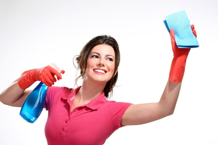 young housewife cleaning on white Archivio Fotografico