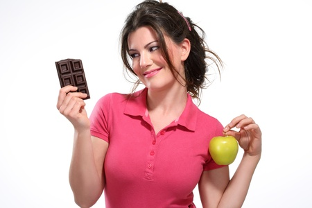 young woman diet meal chocolate on white photo
