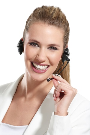 call girl: beautiful woman talk at the helpdesk on white