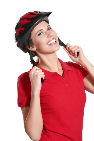 a young woman with a bike helmet on white  photo