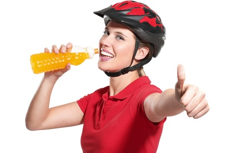 cycling helmet: a young woman with a bike helmet on white