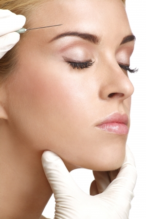 beauty woman close up injecting cosmetic treatment photo