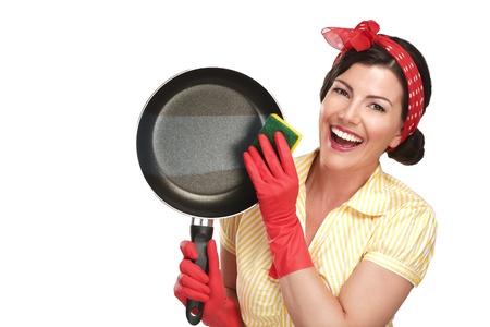若い美人主婦白洗浄で完璧な料理を表示