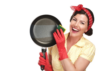 young beautiful woman housewife showing perfect washed dishes on white Archivio Fotografico