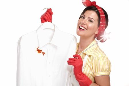 美人主婦の汚れたシャツ白の表示 写真素材