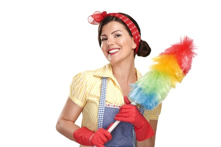 young happy beautiful woman maid dusting on white background Stock Photo