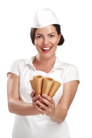 pretty smiling young woman ice cream vendor on white