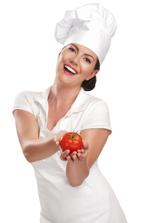 female chef: young woman chef showing ingredients for italian food on white Stock Photo