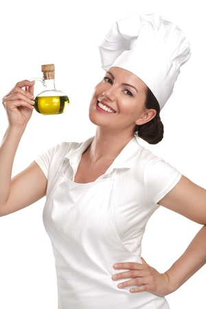 young woman chef showing ingredients for italian food on white photo