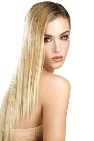 beautiful model showing her perfect blonde straight hair on white  Stock Photo - 23557761