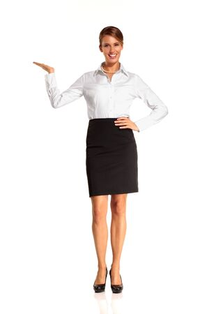 Charming flight stewardess showing various gesture  on white