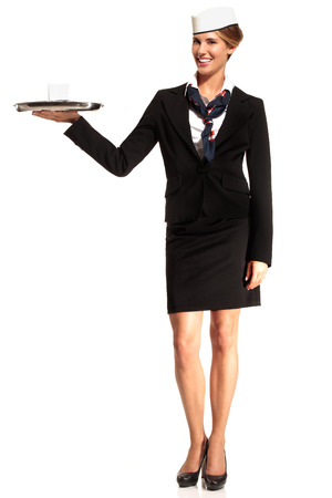 Charming flight stewardess showing various gesture  on white photo