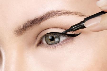 モデルの目のクローズ アップにアイラインを作る
