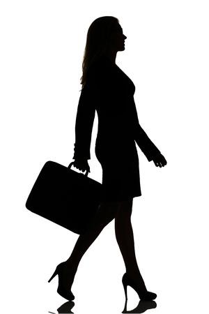 profile silhouette: silhouette of a busy business woman backlight studio on white