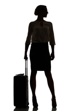 profile silhouette: hostess business class travel silhouette studio shot on white