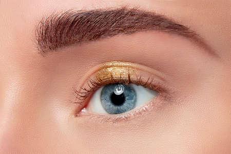 eyelid: Woman eye with beautiful makeup closeup Stock Photo