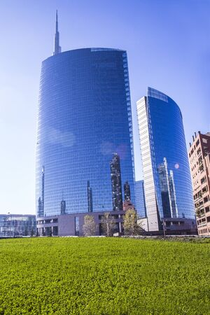 Milan skyscraper and financial district blu sky