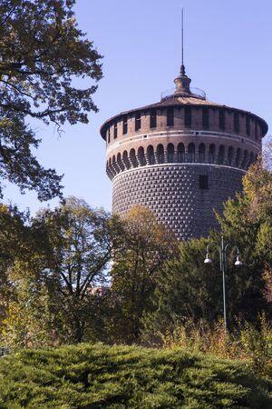 sforza: Sforza Castle (Castello Sforzesco), a castle in Milan, Italy. It was built in the 15th century by Francesco Sforza, Duke of Milan Editorial