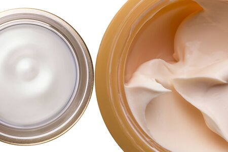 opened body face cream container isolated  on white
