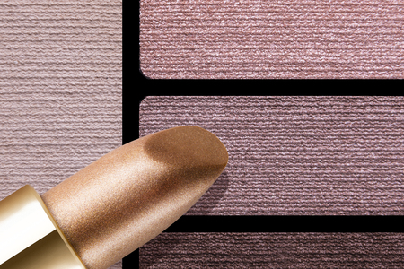 skin color: Closeup of makeup accessories color palette reds rose lips skin and eyeshadows Stock Photo