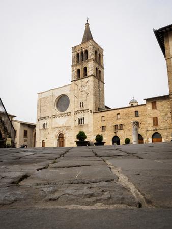 Medieval Piazza Silvestri in Bevagna (Italy). 2017.