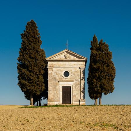 Front view of the Cappella (Chapel) della Madonna di Vitaleta in Val dOrcia. Italy, 2017. Square format. Reklamní fotografie