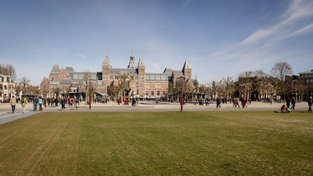 Museumplein and the Rijksmuseum in Amsterdam (Netherlands). March 2015. Landscape format.