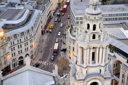 View over Ludgate Hill form the dome of St. Pauls Cathedral in London (UK). Landscape format. Editorial