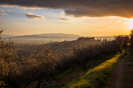 A view of Spello in Umbria at sunset. Landscape format. Imagens