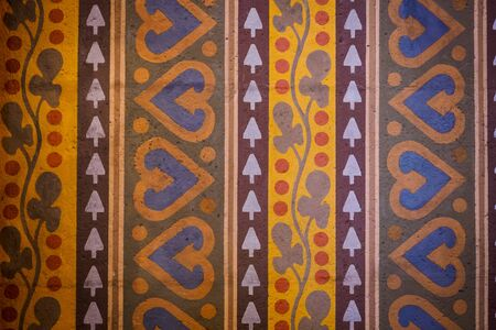 Decoration on walls of the Matthias Church in Budapest (Hungary).