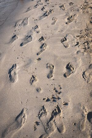 Footprints on a beach in the South of Italy. Portrait format.