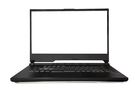 Notebook computer Black and white screens are used to connect to the internet and there is a copy space.
