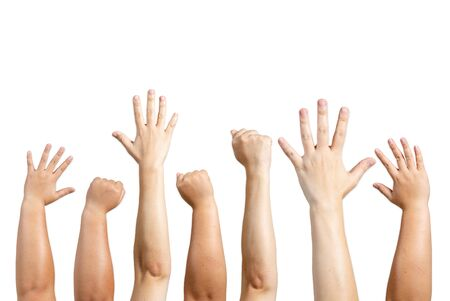 The arms of the fist and the hand of the hand and the color of the skin are different as a symbol of teamwork.